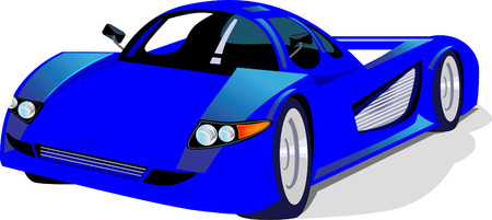 �back ground�: Blue sport car on white back ground