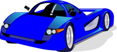 motorised: Blue sport car on white back ground