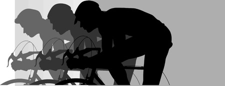 cyclist silhouette: Silhouette of cycling, Illustration