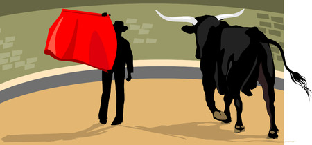 Cowboy  Fighting with  Bull  Vector