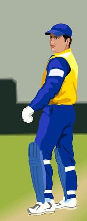 Cricket Bat man  on pitch  Vector
