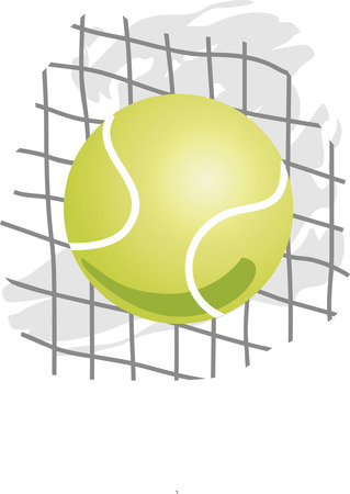Tennis Ball on net  Vector