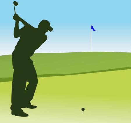 Silhouette d'un homme jouant au golf