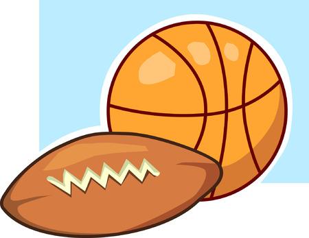 ballon de rugby: Basket-ball et le ballon de rugby sur la lumi�re bleue sol arri�re
