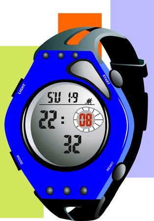 timed: Blue Sports  watch with multiple functions  Illustration