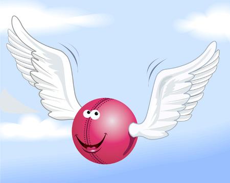 battu: Cartoon Cricket Ball d�pouillement � l'aide d'ailes blanches Illustration