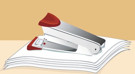 stapling: stapler on few white papers Illustration