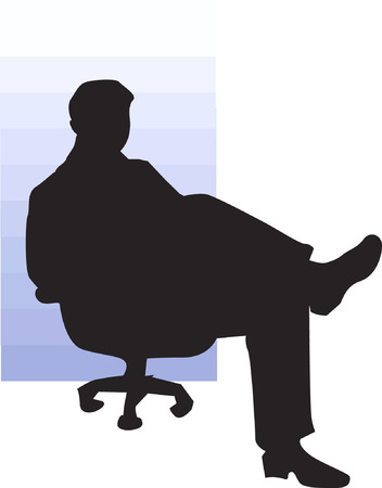 cross legged: Businessman sitting on a chair with cross legged  Illustration