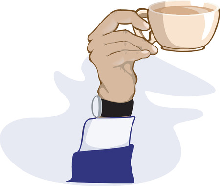 avuç: hand holding cup of tea with a wrist watch tied to his hand
