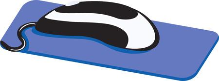 input device: en blanco y negro del rat�n sobre una alfombrilla azul