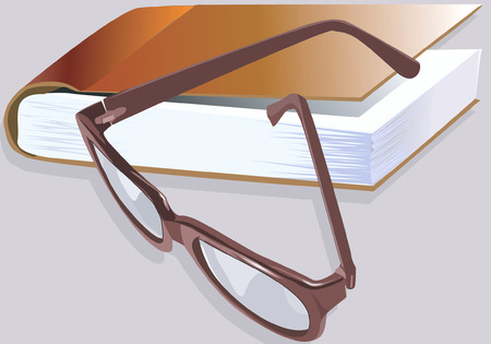 spectacle: huge book and a spectacle with brown frame