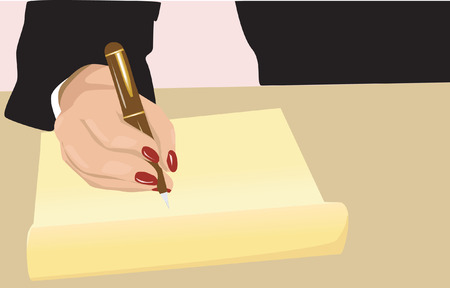bank statement:  businesswoman writing with a pen on a paper Illustration
