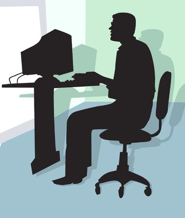 profesionales que trabajan en una oficina Ilustración de vector