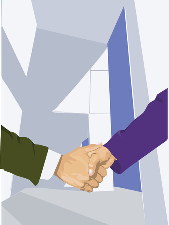 Two businessman shaking there hand Vector