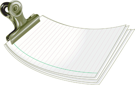 dayplanner: letter pad clipped with a clip