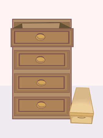 drawers: Four drawers in a shelf  Illustration