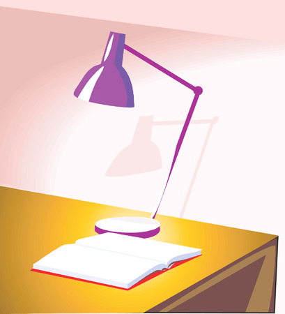 table lamp: Light from a table lamp on a open book,