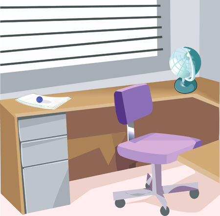 paperweight: An office with furnitures  Illustration