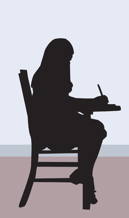 lecture room: lady writing sitting on a chair
