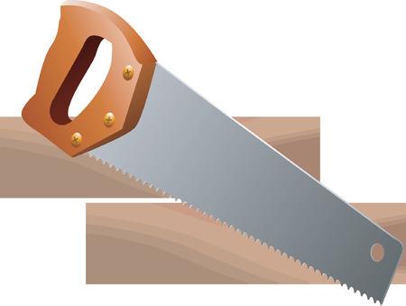 saws: Hand saw and wood  Illustration