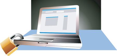 key pad: Laptop and lock Illustration