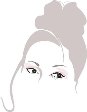 mid aged woman's face with beautiful hair and eyes Stock Vector - 1768292