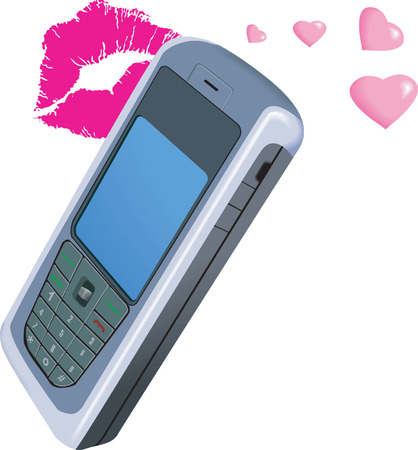 electronic organiser: Mobile phone with love and kiss symbol in background