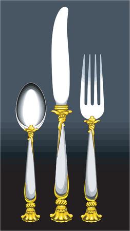 Cuill�re, couteau et une fourchette