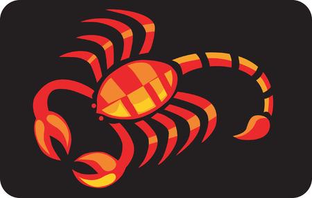 cartoon scorpion: red-yellowish scorpion in a black background