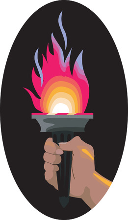 sport torch with flames and a hand holding it Vector