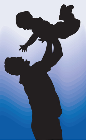 tossing: father shares his pleasure with his son.  Illustration