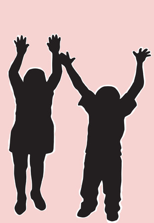 Silhouettes of two Children playing  Vector