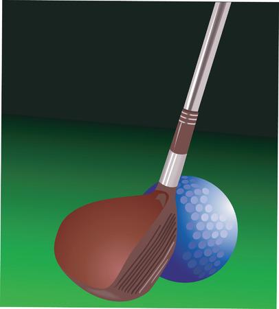 golf stick: Golf palo y pelota