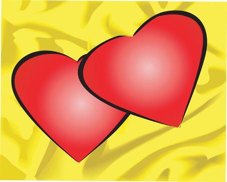黄色のバック グラウンドでハートマーク