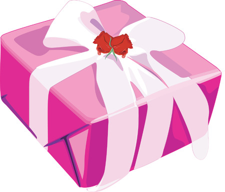 celebratory event: Gift box decorated with ribbon and rose.