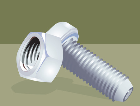 Nut and bolt on green background, Vector