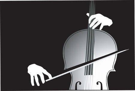 performing arts event: A violinist playing violin. Illustration