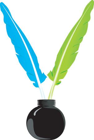 ink pot: Beautiful Quills en una botella de tinta.  Vectores