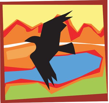 analogue: Eagle flying above a landscape Illustration