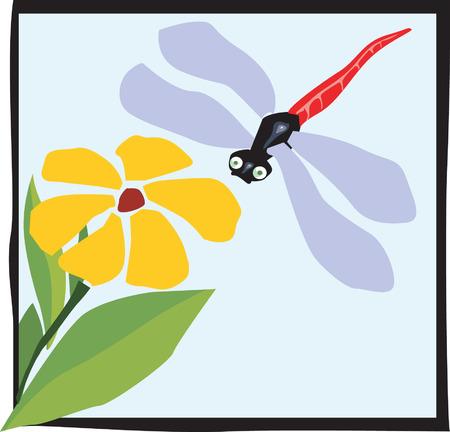 dragon fly towards a flower Vector