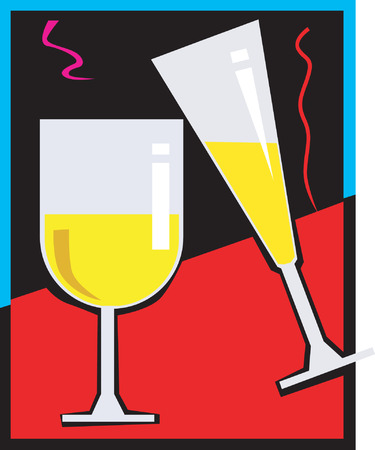 Two glass of champagne Vector
