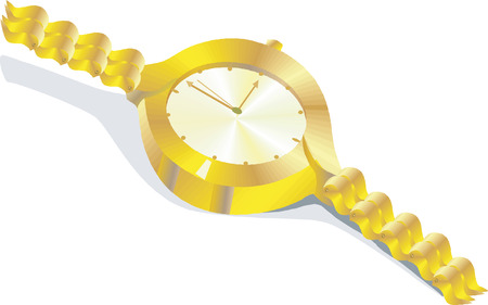orologio da polso: Un signore placcato in oro di orologi da polso Vettoriali
