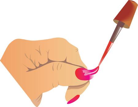 ceremonial makeup: Applying nail polish to a human hand Illustration