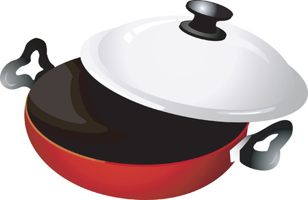 commercial kitchen: A red frying pan in white background