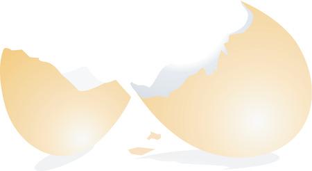 uovo rotto: guscio d'uovo rotto Vettoriali