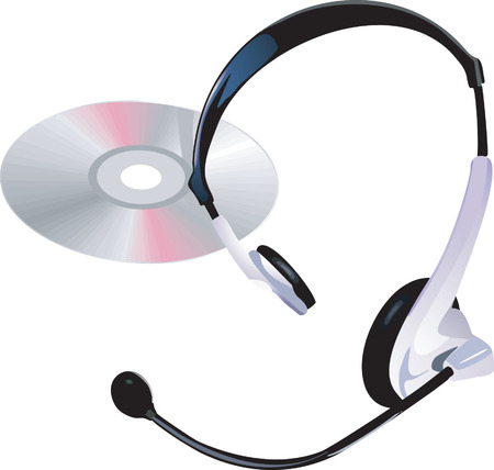 compact disc: An headphones with mic and a Compact disc