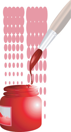 descriptive: Painting brush dipped in red colour  Illustration