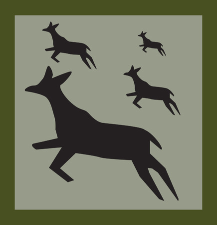 fallow: Drawing of four deer�s jumping Illustration