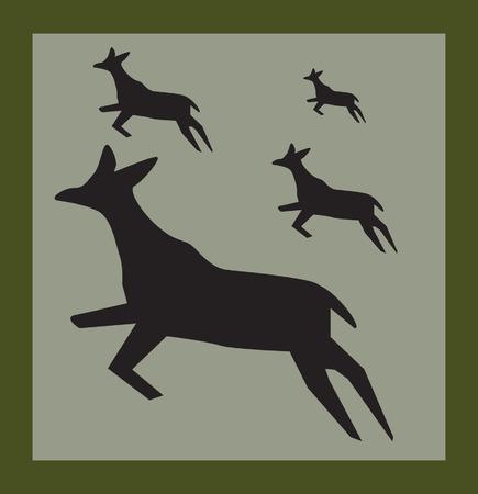 damhirsch: Zeichnung von vier Hirsche springen