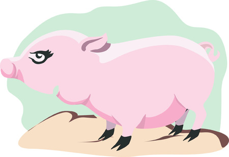 sniffer: Pig standing alone on top of a surface